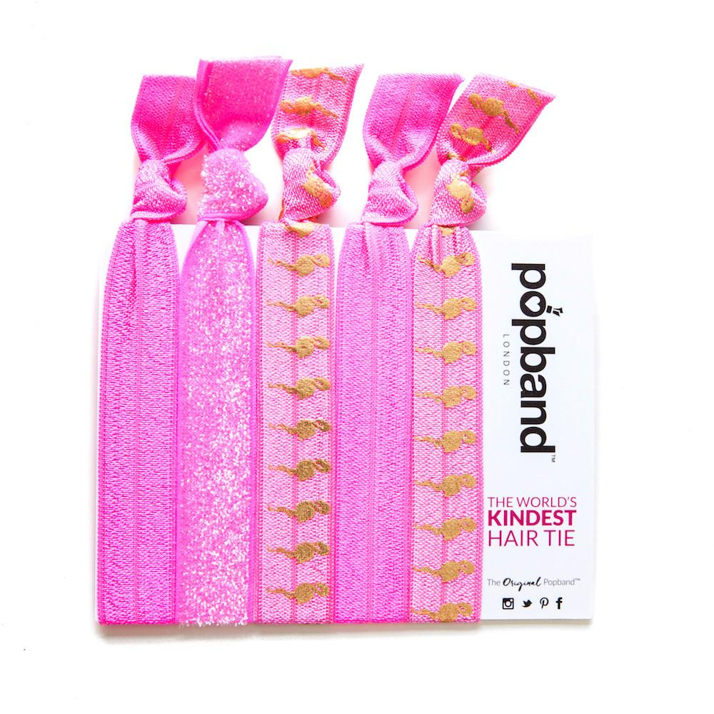 Flamingo | Printed Popband Hair Bands | Pink & Gold Flamingo Print Hair Ties