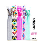 Tribal | Printed Popband Hair Bands | Grey, Pink & Mint Green Hair Ties with Aztec Print