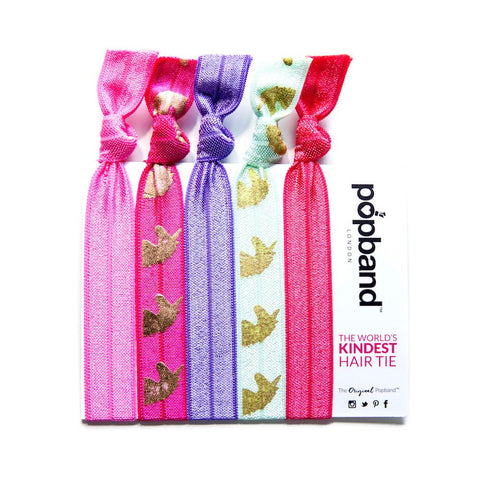 Unicorn | Printed Popband Hair Bands | Pink, Purple & Gold Unicorn Print Hair Ties