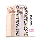 Wild Thing | Printed Popband Hair Bands | Beige, Light Taupe & Peach Glitter Hair Ties with Cheetah Print