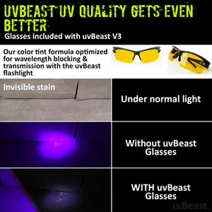 uvBeast Black Light UV Flashlight V3 385-390nm Rechargeable 18650 Battery POWER PACK EDITION