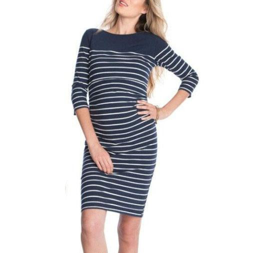 676a8abe804ed Maternity Nursing Stripes Long Sleeve Dress