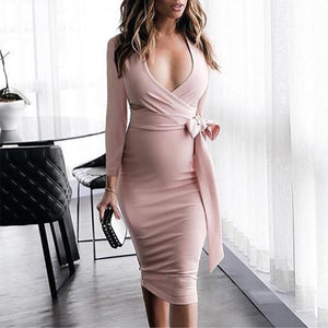 8b33128e07afc Maternity V-Neck Side Bow Long Sleeve Knee-Length Dress