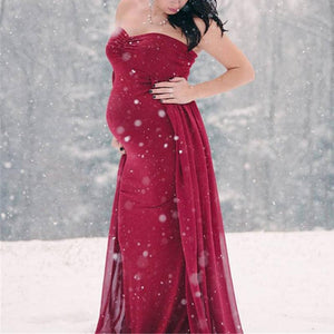 93854afe7e865 Maternity Elegant Gown With Detachable Train