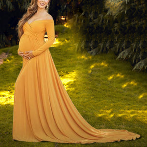 28e80eedf096d Maternity Off Shoulder Long Sleeve Floor-Length Dress