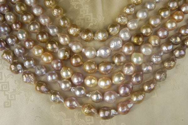 Ripple pearls have texture typical of baroque and semi-baroque in-body nucleated freshwater pearl.