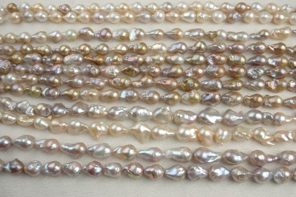 Various baroque flame type (mantle cultivated) bead nucleated freshwater pearls