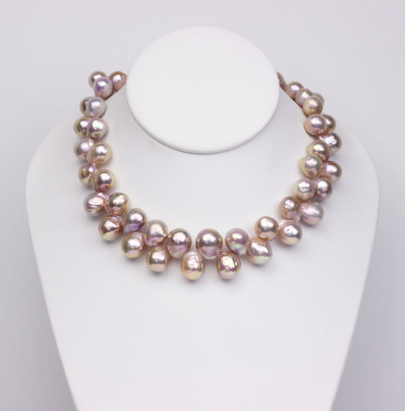 Shiny and vibrant Chinese freshwater ripple pearls strand