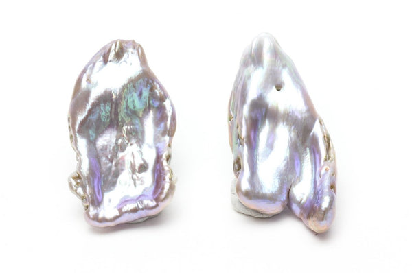 unique shapes purple and blue chinese freshwater pearl pair