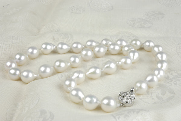 petite white baroque flame drops necklace