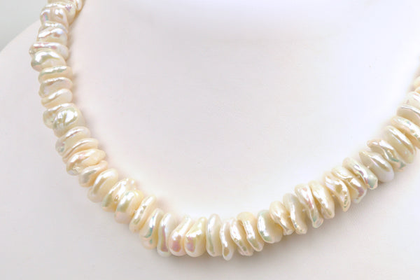 stacked white keshi pearl necklace