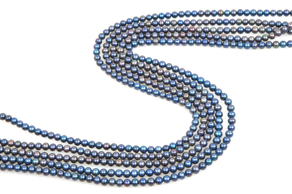 5 strands dyed blue pearls