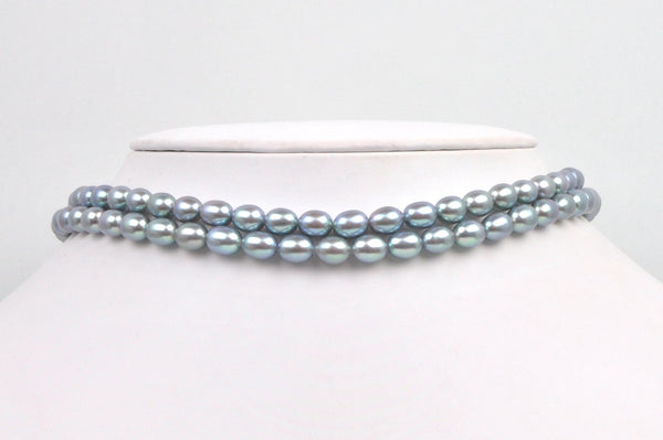 dyed silver/blue rice pearls