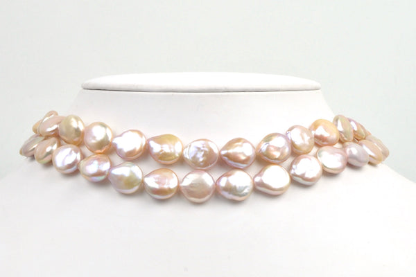 soft pink-peach Chinese Freshwater coin pearls 12-13mm