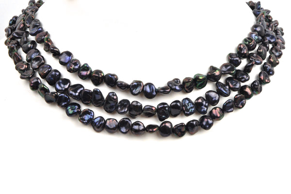 3 strands dyed iridescent pearls