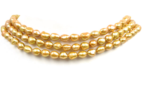 3 strands dyed golden ovoid pearls
