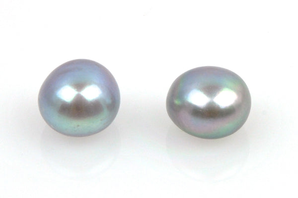 pair dyed silver button pearls