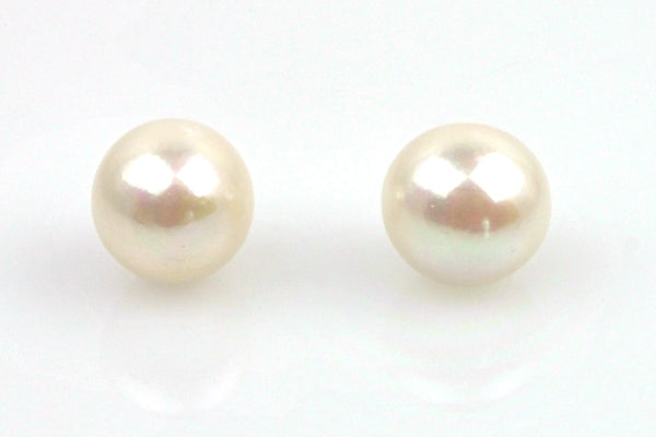 pair huge white button pearls