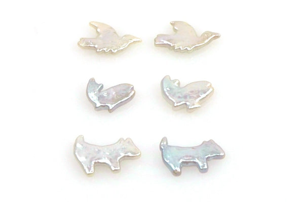 3 pair lot of iridescent animal pearl pairs