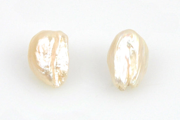 pair champagne feather pearls
