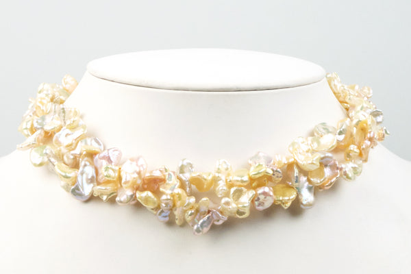 eccentric keshi double strand freshwater pearl necklace