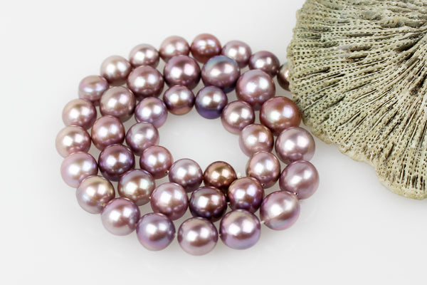 lavender and honey chinese freshwater pearl strand necklace
