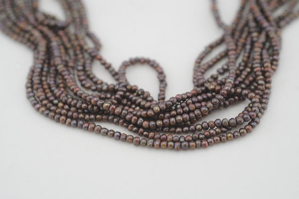 10 strand lot of tiny deep brown pearls