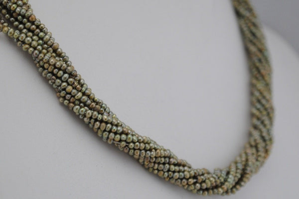 10 strand lot of tiny sage green pearls