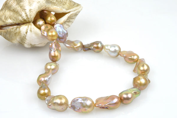 deep golden flameball pearl strand