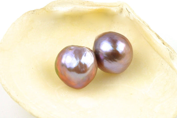 large intense color baroque pearl pair