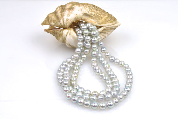 natural blue metallic luster japan akoya pearls