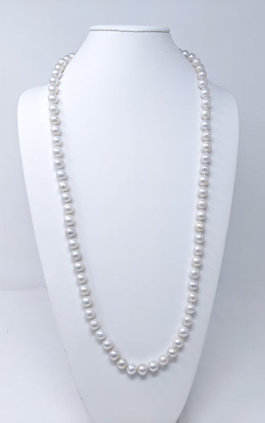 "Enchanting 36"" long white Chinese Freshwater in bead nucleated pearl necklace"