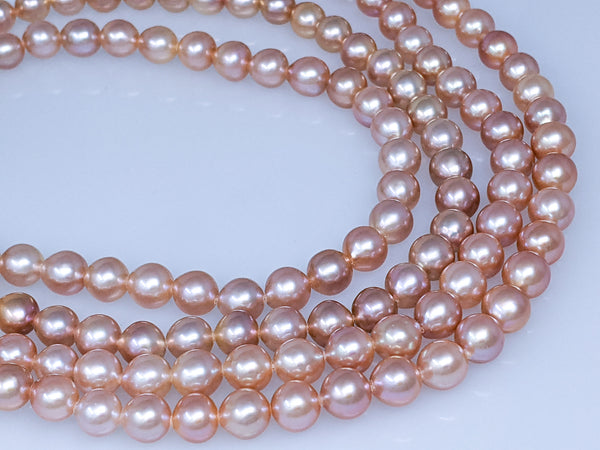 Natural pink Chinese freshwater off round in-body nucleated 7.5-8.0mm pearl strand