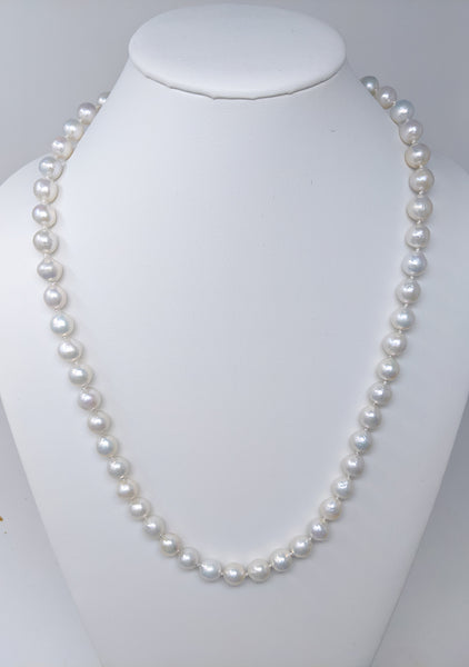 "Winter white 27"" long white Chinese Freshwater in bead nucleated pearl necklace"