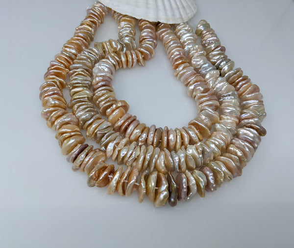 Stacked Chinese freshwater baroque keshi strand 14-15mm