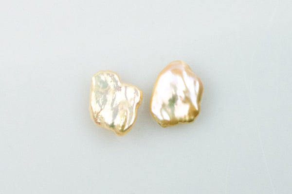 flat peach chinese freshwater pearl pair