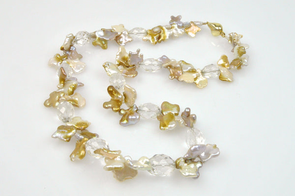 quartz crystal and funky shape chinese freshwater necklace