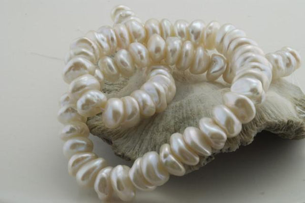 satiny white stacked keshi pearls
