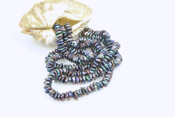 rainbow black dyed stacked keshi pearls