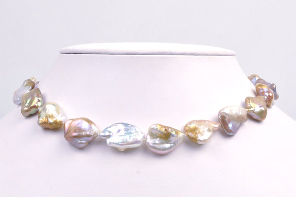 baroque mix color wing pearl necklace