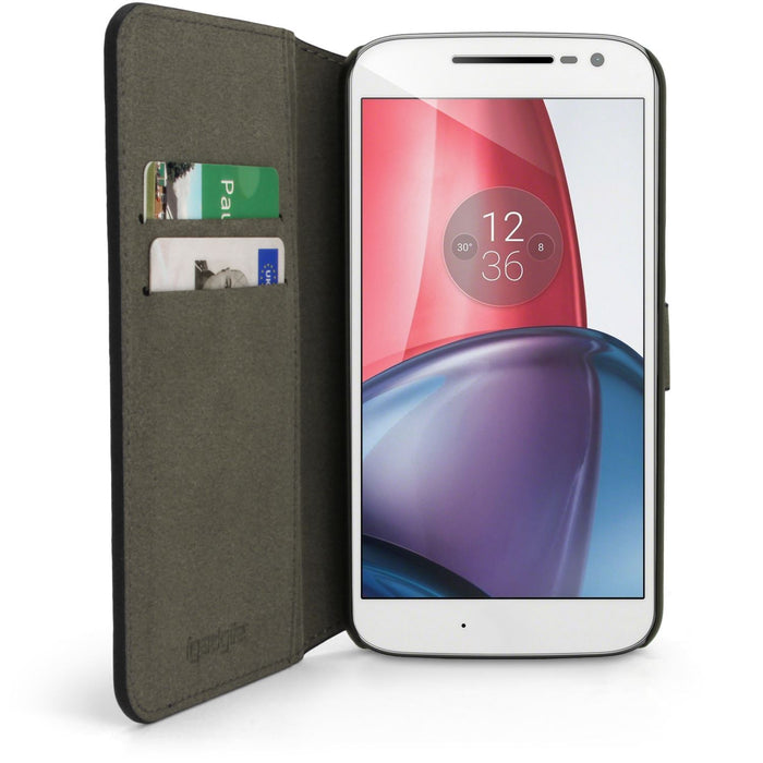 iGadgitz Wallet Flip PU Leather Case Cover for Motorola Moto G4 Play XT1601 2016 (4th Gen) Card Slots + Screen Protector