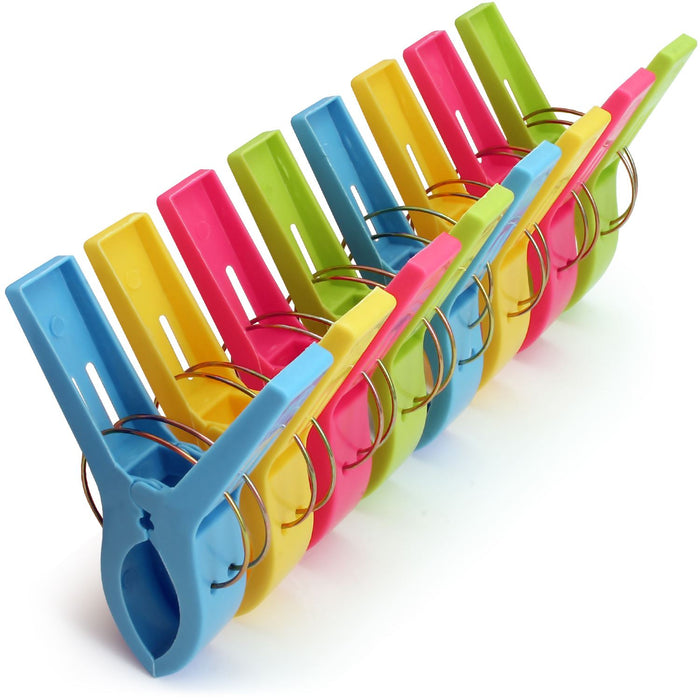 iGadgitz Home Beach Towel Clips Plastic Hanging Pegs Multipurpose Quilt Clips for Laundry, Sunbed, Pool Lounger, Clothes