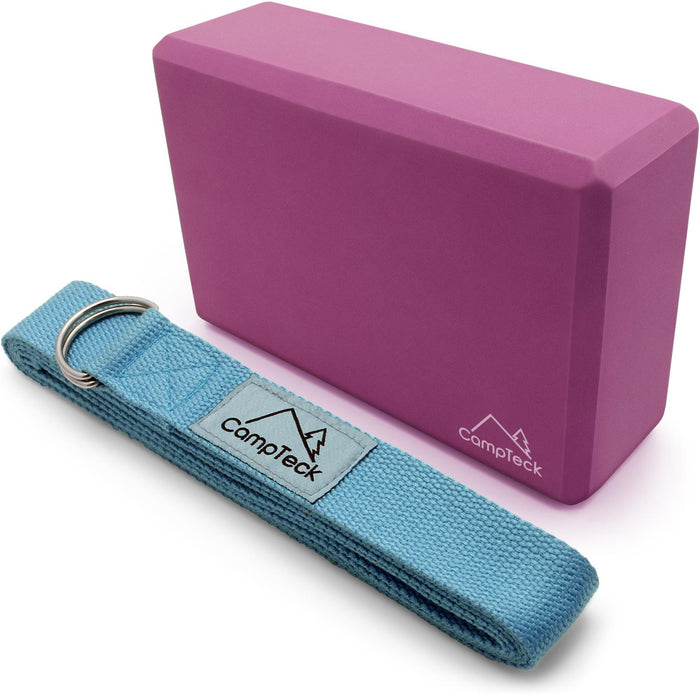 CampTeck Yoga KIT - D-Ring Polyester Yoga Strap Stretching Yoga Belt & EVA Foam Portable Yoga Block for Pilates, Fitness Exercise, Strength, Balance and Flexibility Training
