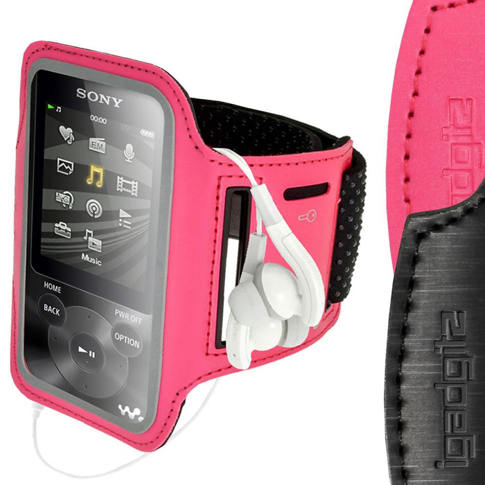 iGadgitz Anti-Slip Reflective Neoprene Sport Armband for Sony Walkman NWZ-E585 & NWZ-E384 MP3 Player (various colours)