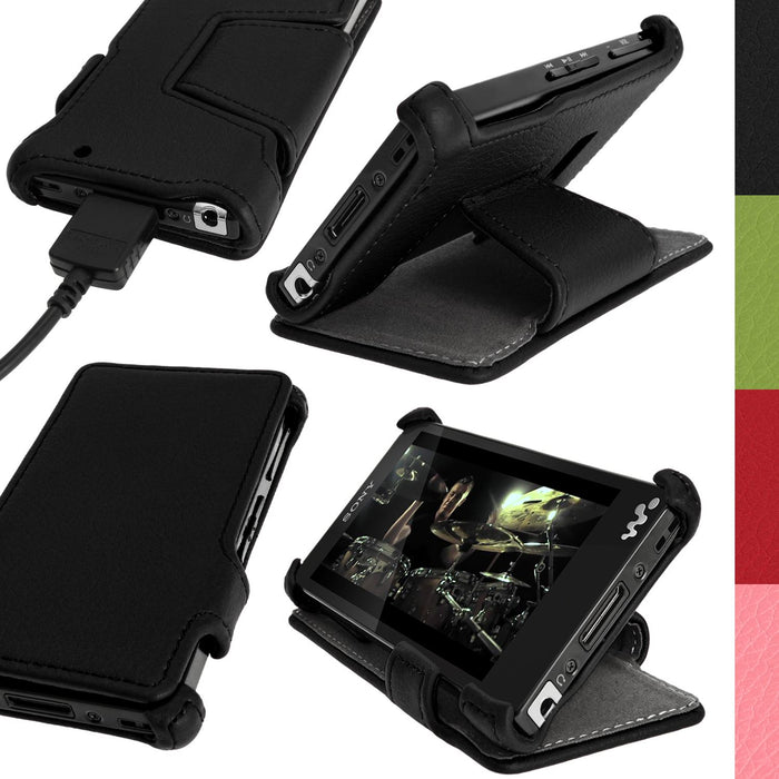 iGadgitz Black PU Leather Flip Case Cover for Sony Walkman NWZ-F880 NWZ-F886 NWZ-F887 F-Series Video MP3 Player with Viewing Stand + Screen Protector
