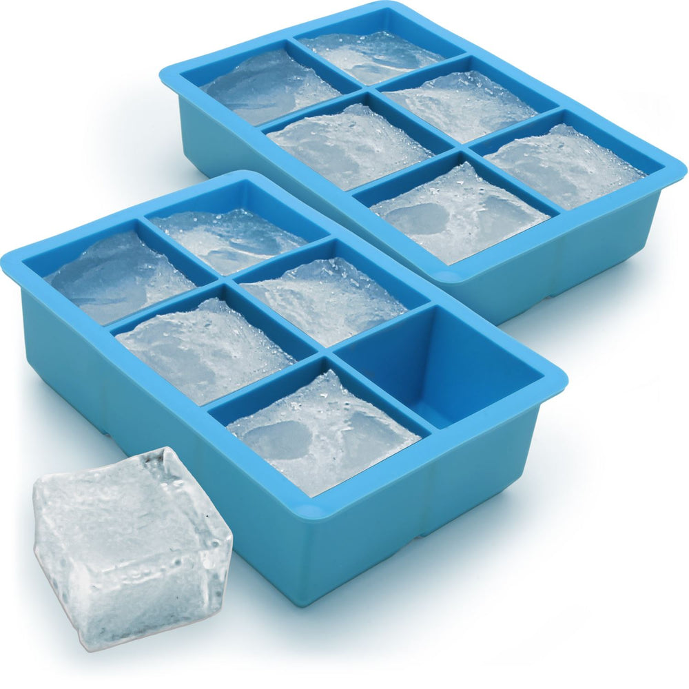 iGadgitz Home Silicone Ice Cube Tray 6 Extra Large Square Food Grade Jumbo Ice Cube Moulds - Pack of 2
