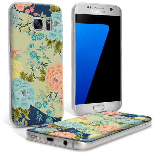 "iGadgitz ""Designer Collection"" Blue Mist Floral Pattern Glossy TPU Gel Skin Case Cover for Samsung Galaxy S7 SM-G930"
