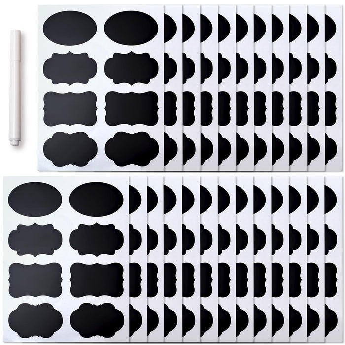 iGadgitz Home Reusable Chalkboard Labels, Chalkboard Stickers, Blackboard Sticker (4 x Sticker Shapes - 200 stickers)