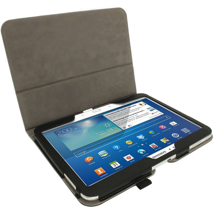 "iGadgitz Premium Black PU Leather Folio Case Cover for Samsung Galaxy Tab 3 10.1"" GT-P5210 with Multi-Angle Viewing Stand + Auto Sleep/Wake + Screen Protector"