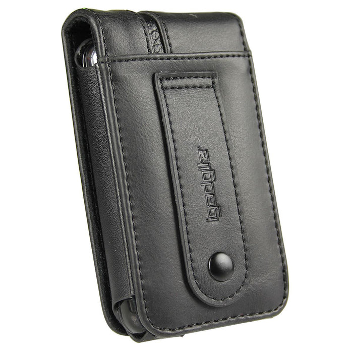iGadgitz Black Genuine Leather Case Cover for Pure Move 2500 & 2520 Rechargeable Personal Digital DAB/FM Radio